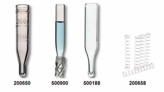 inserts Sun-Sri para vials Shell são fabricados em vidro transparente ou plástico não corado