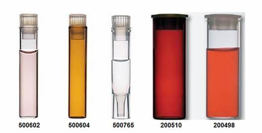 vials Shell volume 1 mL e 4 mL da Sun-Sri são fabricados em vidro borosilicatotransparente Tipo 1 Classe A, âmbar Tipo 1 Classe B ou em polipropileno. Os vials âmbares são recomendados para o armazenamento de amostras que degradam-se na presença de luz