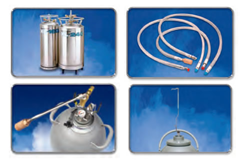 acessórios para utilização com os equipamentos de criogenia
