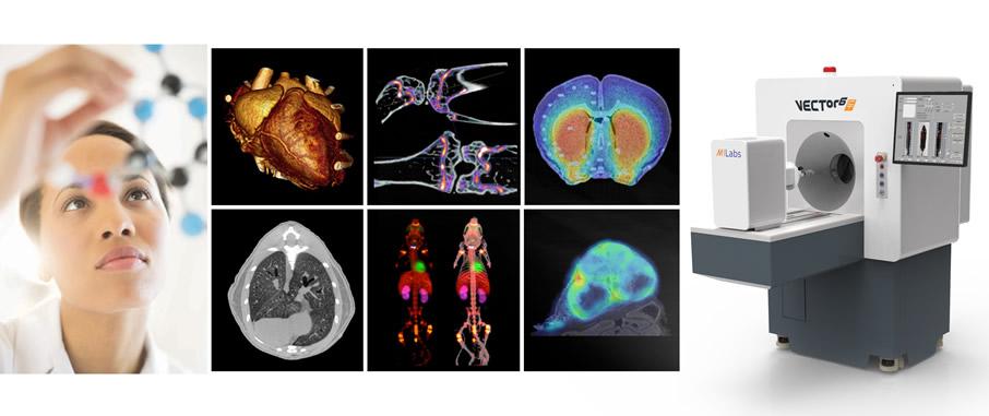 Sistema de imagens in vivo e ex vivo PET/SPECT/CT, MicroCT e óptico com módulos de Fluorescência, Bioluminescência e Cherenkov